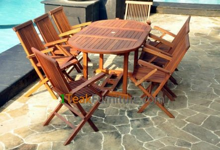 Teak Oiled Dining Table Sets 12 OL-012