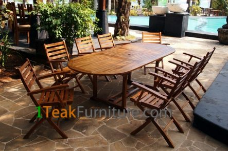 Teak Oiled Dining Table Sets 6 OL-006