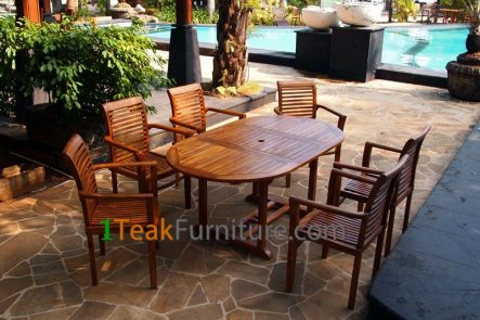 Teak Oiled Dining Table Sets 9 OL-009