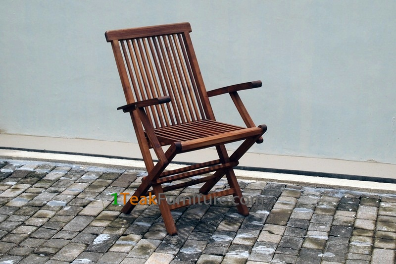 Teak Oiled Folding Arm Chair
