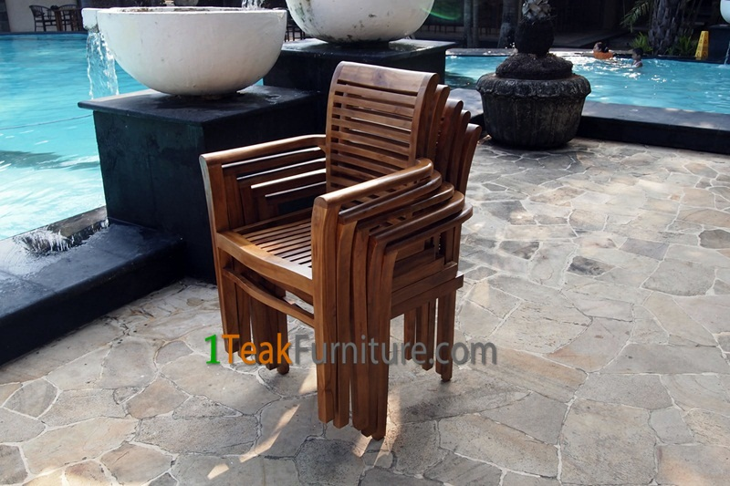 Teak Oiled Stacking Chair