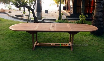 Teak Oval Double Extend Table 200-300 x 120 cm   TT-001A