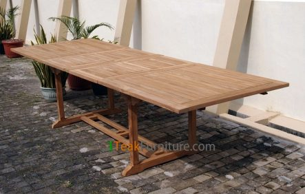 Teak Rectangular Double Extend Table - TT-002A