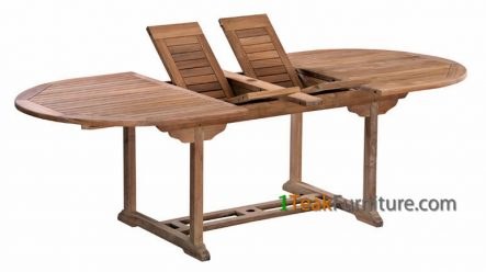 Teak Oval Double Extend Table