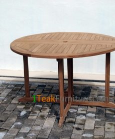 Teak Round Butterfly Table 100